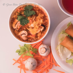 hot and sour soup with Spring Rolls