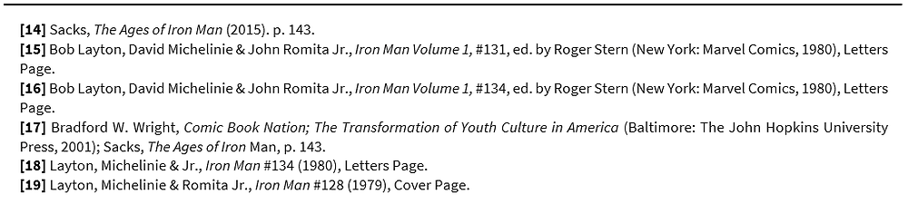 Footnotes: [14] Sacks, The Ages of Iron Man (2015). p. 143.  [15] Bob Layton, David Michelinie & John Romita Jr., Iron Man Volume 1, #131, ed. by Roger Stern (New York: Marvel Comics, 1980), Letters Page.   [16] Bob Layton, David Michelinie & John Romita Jr., Iron Man Volume 1, #134, ed. by Roger Stern (New York: Marvel Comics, 1980), Letters Page.  [17] Bradford W. Wright, Comic Book Nation; The Transformation of Youth Culture in America (Baltimore: The John Hopkins University Press, 2001); Sacks, The Ages of Iron Man, p. 143.  [18] Layton, Michelinie & Jr., Iron Man #134 (1980), Letters Page.  [19] Layton, Michelinie & Romita Jr., Iron Man #128 (1979), Cover Page.