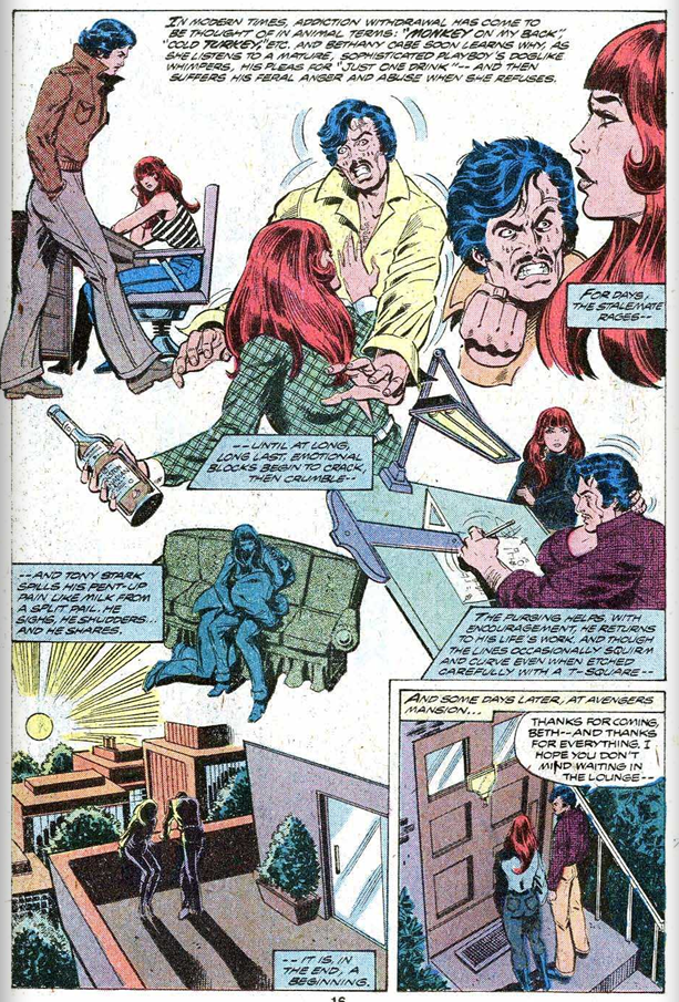 A full comic page shows various stages of Tony Stark's withdrawal from alcohol, helped by his girlfriend, Bethany Cabe.