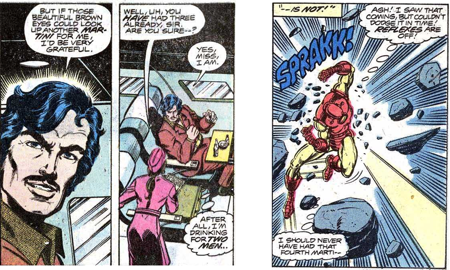Panel 1: Tony Stark orders another martini from a reluctant waitress. Panel 2: Under attack, Iron Man regrets his earlier drinking.