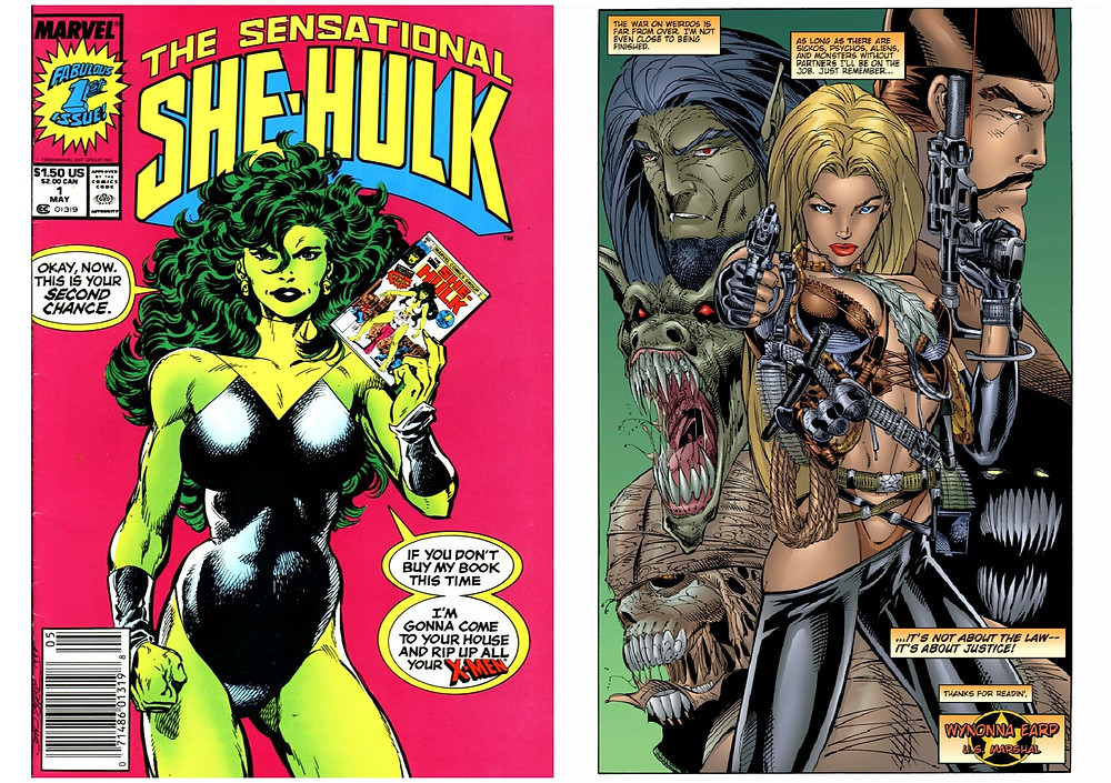 Two single comic pages, each one a full spread. The first is the cover of She-Hulk #1. Against a bright pink background, She-Hulk can be seen in a body builders pose, wearing a black strapless leotard emphasising her muscles ans her curves. She holds in her hand the first issue of her original series,