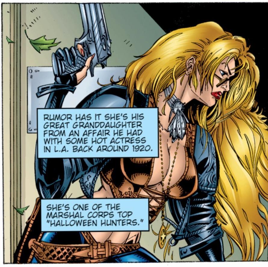 "A single, excerpted panel shows the titular character, Wynonna Earp, holding a gun in her right hand and walking forward. She has long blond hair and is wearing a revealing ensemble. The ensemble consists of a feather around her neck, an open leather jacket, painted on jeans with a leather belt, and a leather bustier that reveals a third of her breasts and most of her torso. Over her body are two narrative boxes that read: ""Rumor has it she's his great grandaughter from an affair he had with some hot actress in L.A. back around 1920. She's one of the Marshal Corps top (quote) Halloween Hunters (unquote)."""