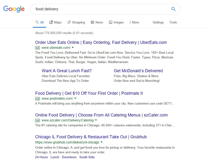 """paid search advertising """"food delivery"""""""