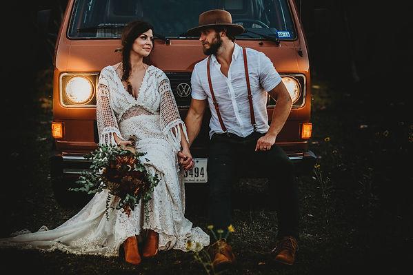 boho bride and groom vw van vintage
