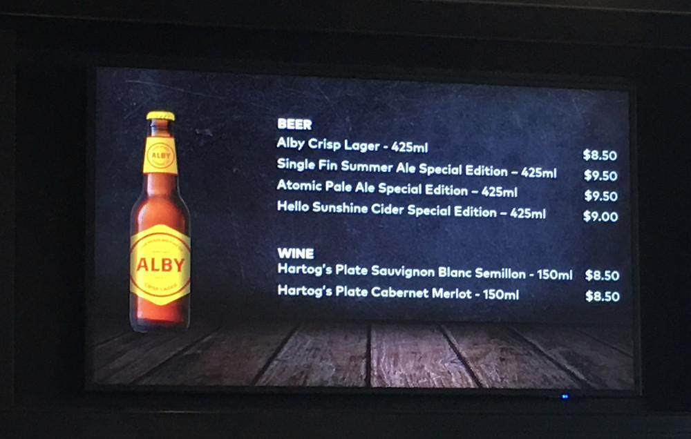 Perth Stadium Beer List. The Sip