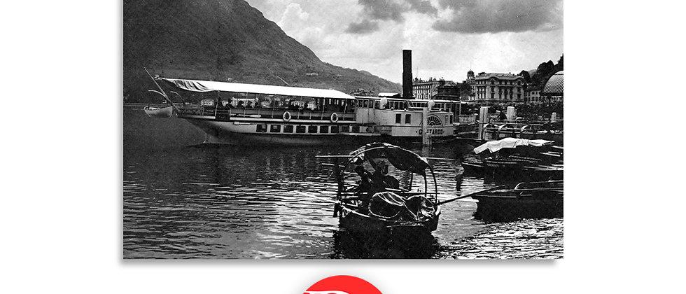 Lugano pontile e battello Gottardo primi '900