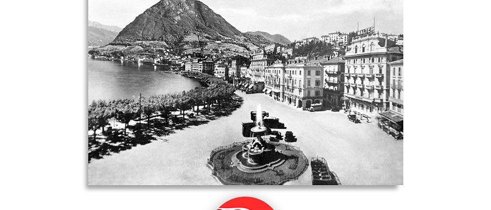 Lugano il Quai e fontana Bossi anno 1939 c.a.
