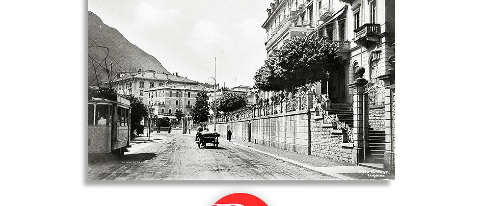 Lugano tram e lungolago anno 1940 c.a.