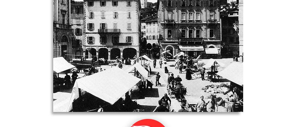 Lugano il mercato in piazza Riforma primi '900