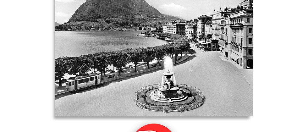 Lugano Il Quai e fontana Bossi anno 1945 c.a.