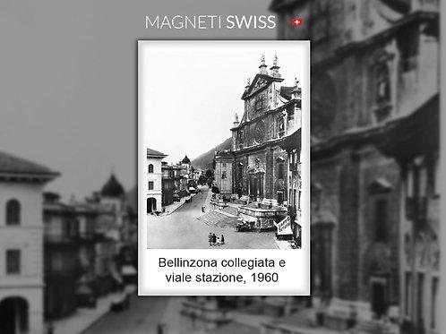 Bellinzona collegiata e viale stazione, 1960