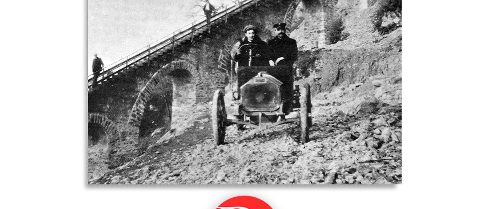 Jean Morel sul monte brè alla guida di una Fiat primi '900
