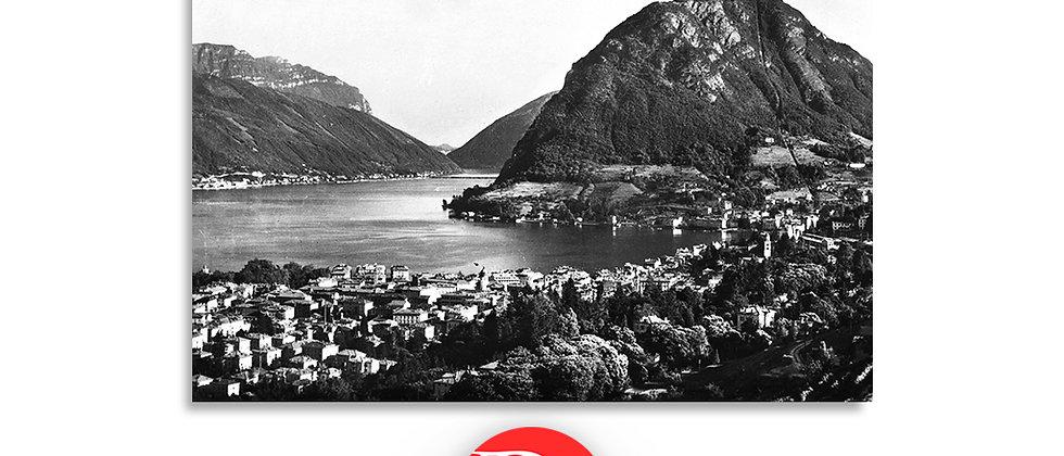 Lugano panorama  e monte S.Salvatore primi '900