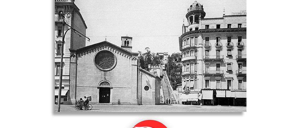 Lugano chiesa degli Angeli e funicolare primi '900