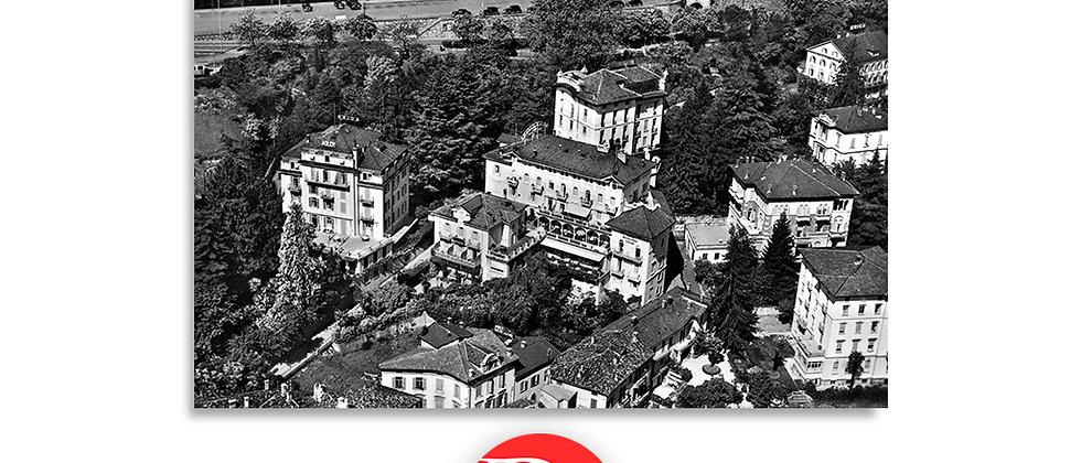 Lugano, veduta aerea Hotel e stazione anno 1940 c.a.