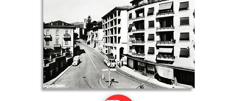 Lugano Besso e tram anno 1950 c.a.