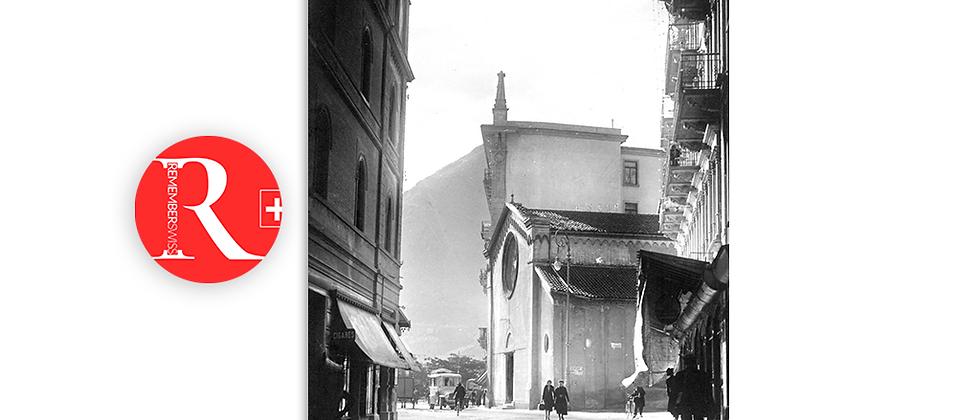 Lugano via Nassa e chiesa degli Angeli anno 1940 c.a.