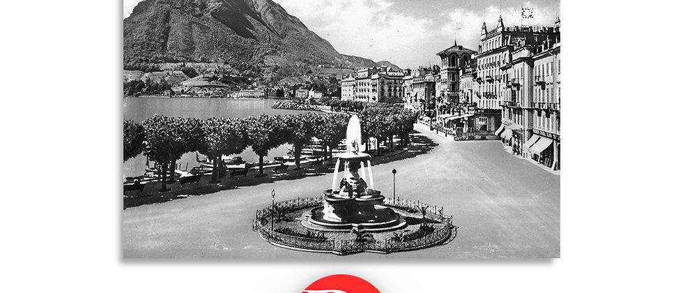 Lugano il Quai e fontana Bossi primi '900
