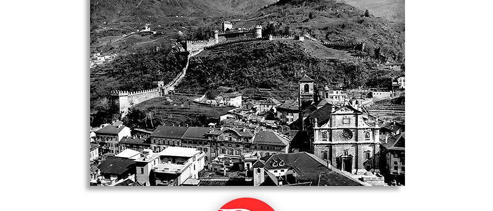 Bellinzona Collegiata e castelli anno 1950 c.a.