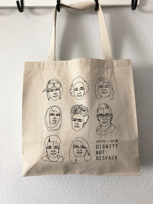 J + S for Dignity not Despair tote bag