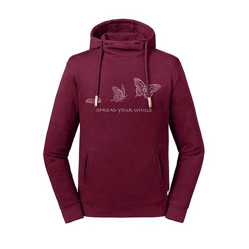 Organic Hoodie Sughero Burgundy - Farfalla