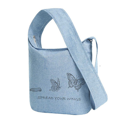 Recycled Shoulder Bag Blue Fog - Farfalla