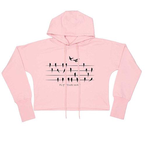 Organic Cropped Hoodie Soft Pink - Rondini