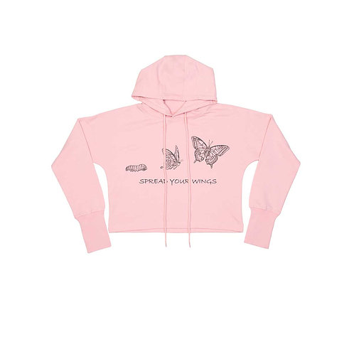 Organic Cropped Hoodie Soft Pink - Farfalla