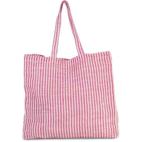 Striped Beach Bag Soft Pink