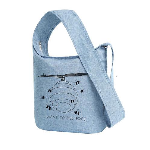 Recycled Shoulder Bag Blue Fog - Api