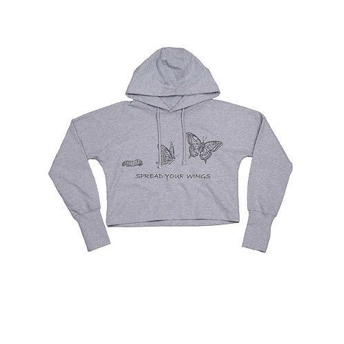Organic Cropped Hoodie Grey - Farfalla