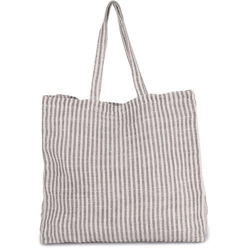 Striped Beach Bag Grey