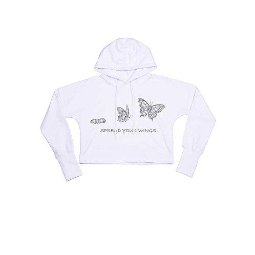 Organic Cropped Hoodie White - Farfalla