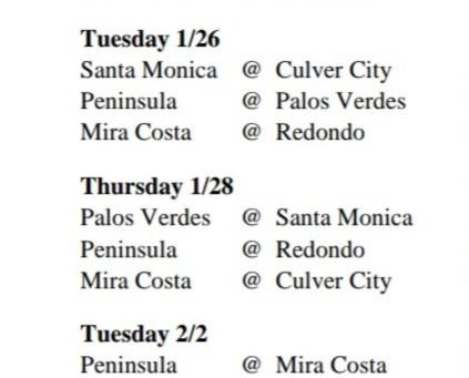 2021 Bay League Indoor Volleyball Schedule - Tentative