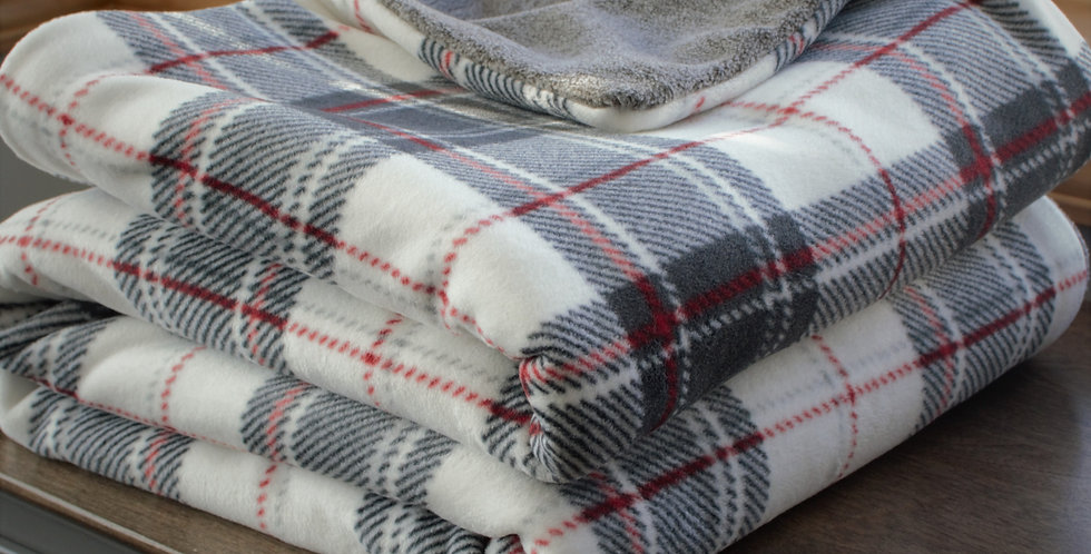 Reversible Red, Gray and White Plaid Original Cozy