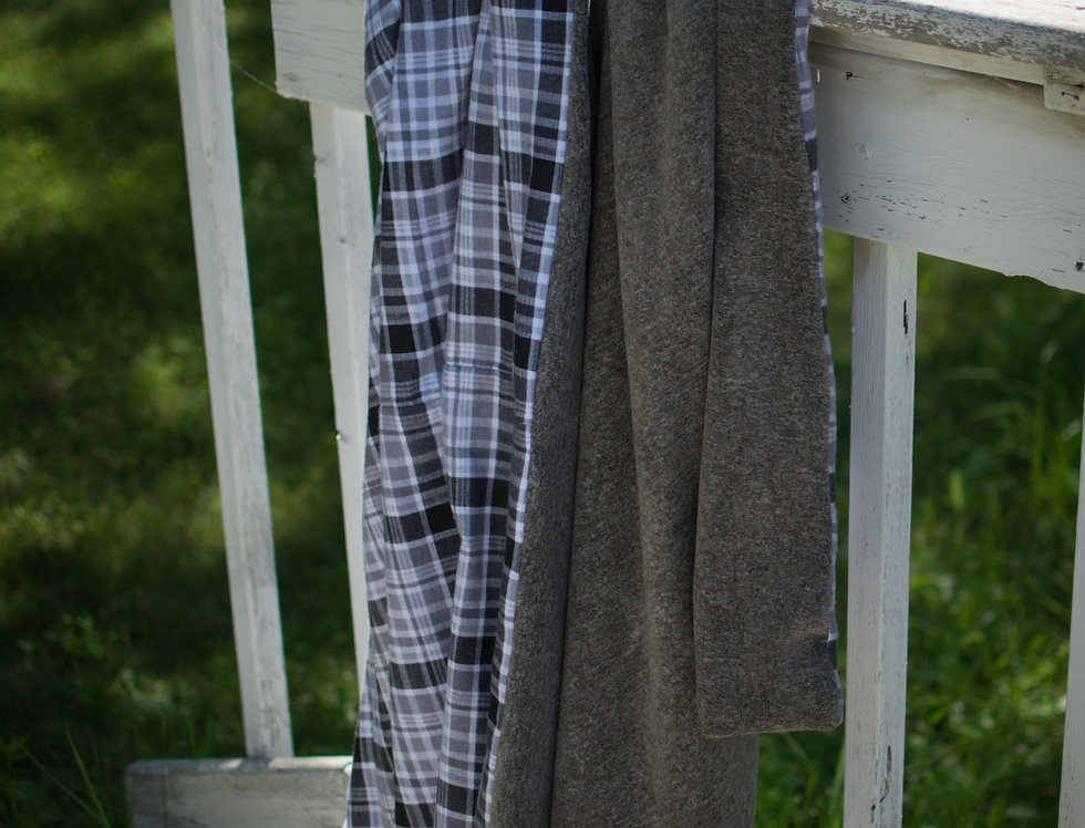 Gray and White Flannel Cozy