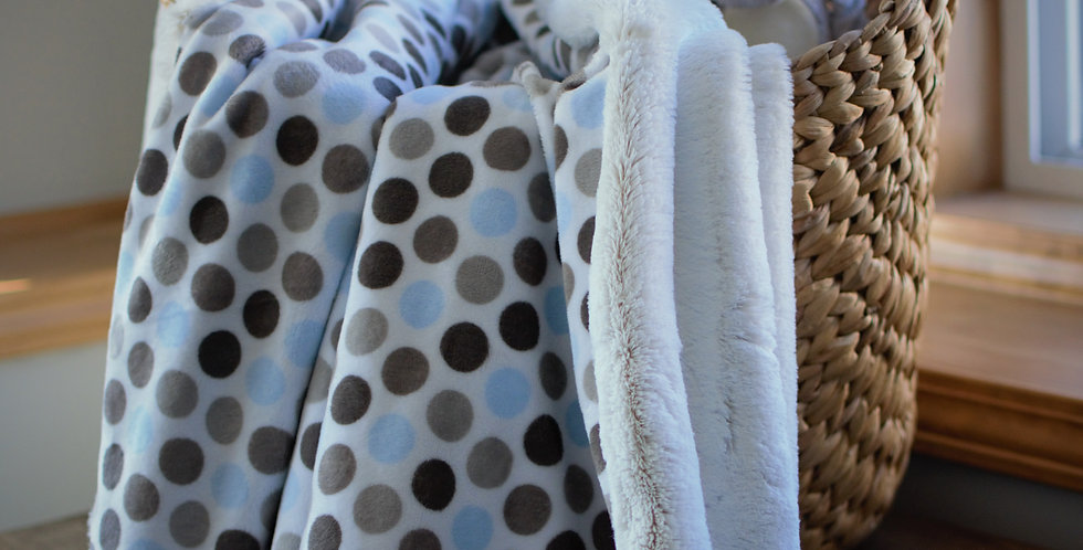 Blue and Gray Dot Baby Cozy