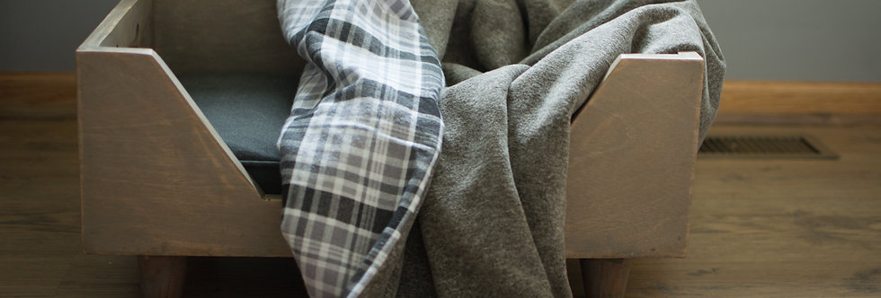 Gray and White Flannel Pet Cozy