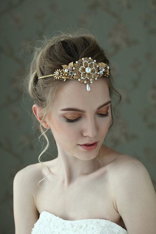 Kaleigh ǀ Ornate Crystal and Pearl Tiara