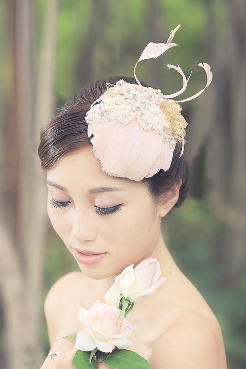 Hana ǀ Cream Pink Feather Bridal Cocktail Hat