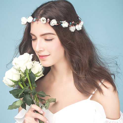 Donya ǀ Rustic White Silk Flower Crown