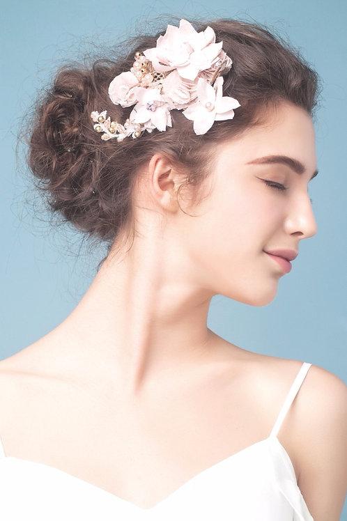 Aimee ǀ Pink Bridal Silk Blossom Headpiece