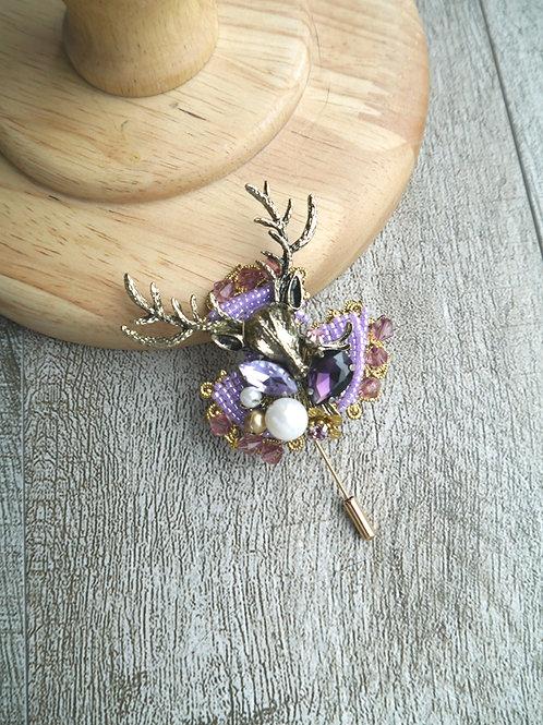 Reindeer Brooch (purple)