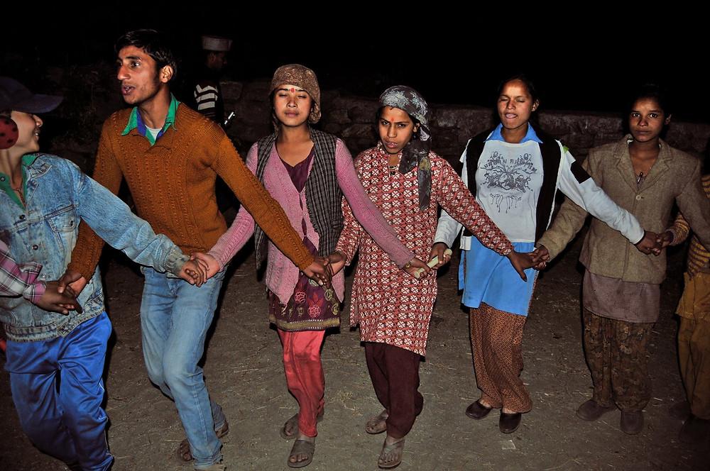 Villagers dancing during pahadi diwali at Kalap