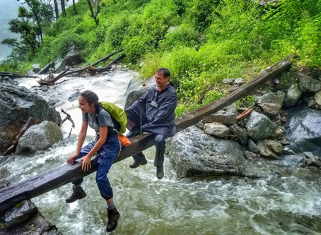 Crossing stream during monsoon.