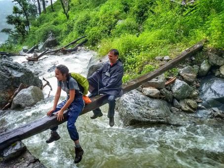 Crossing stream during monsoon.