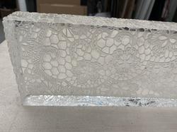 "Laser etch on 1"" clear acrylic"