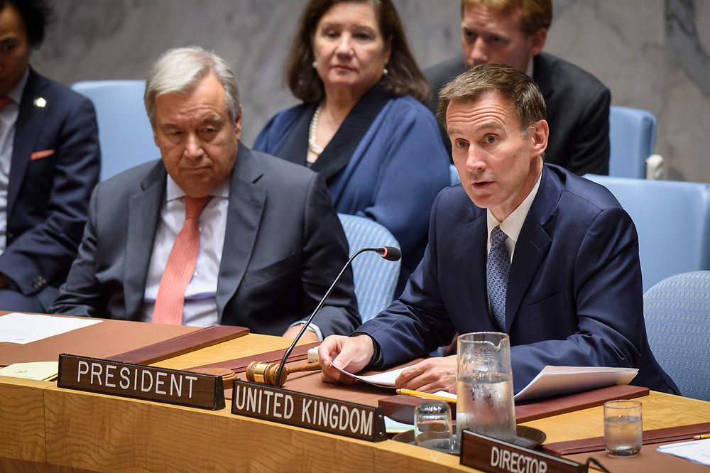 Jeremy Hunt, Secretary of State for Foreign and Commonwealth Affairs of the United Kingdom and President of the Security Council for the month of August, chairs the Security Council meeting on threats to international peace and security caused by terrorist acts.