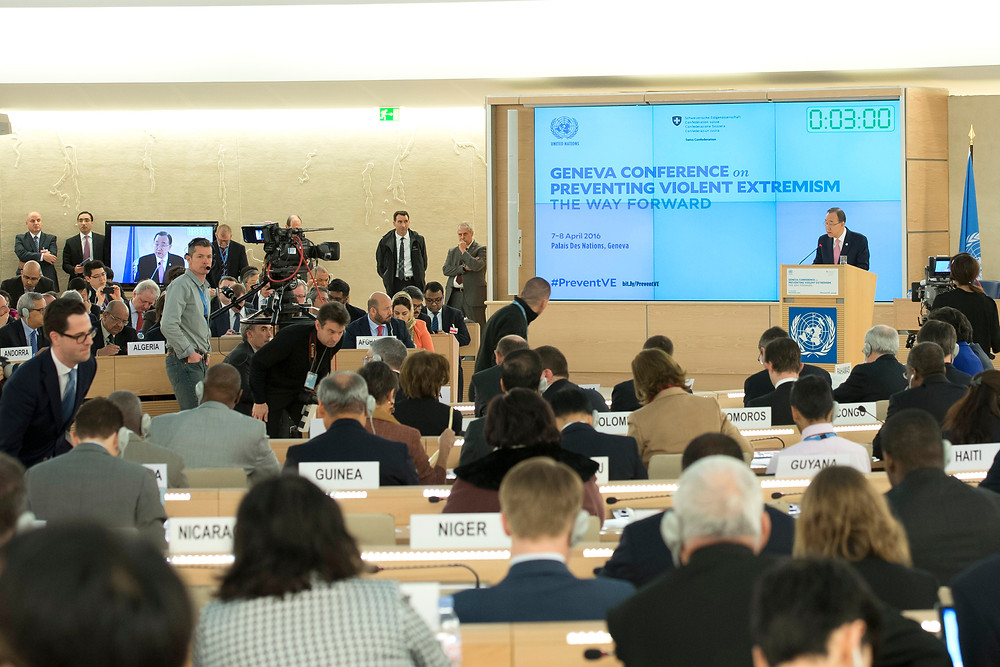 "Secretary-General Ban Ki-moon addresses the ""Geneva Conference on Preventing Violent Extremism – The Way Forward"". The 7-8 April conference was co-hosted by the Government of Switzerland and the United Nations. 08 April 2016 Geneva, Switzerland"