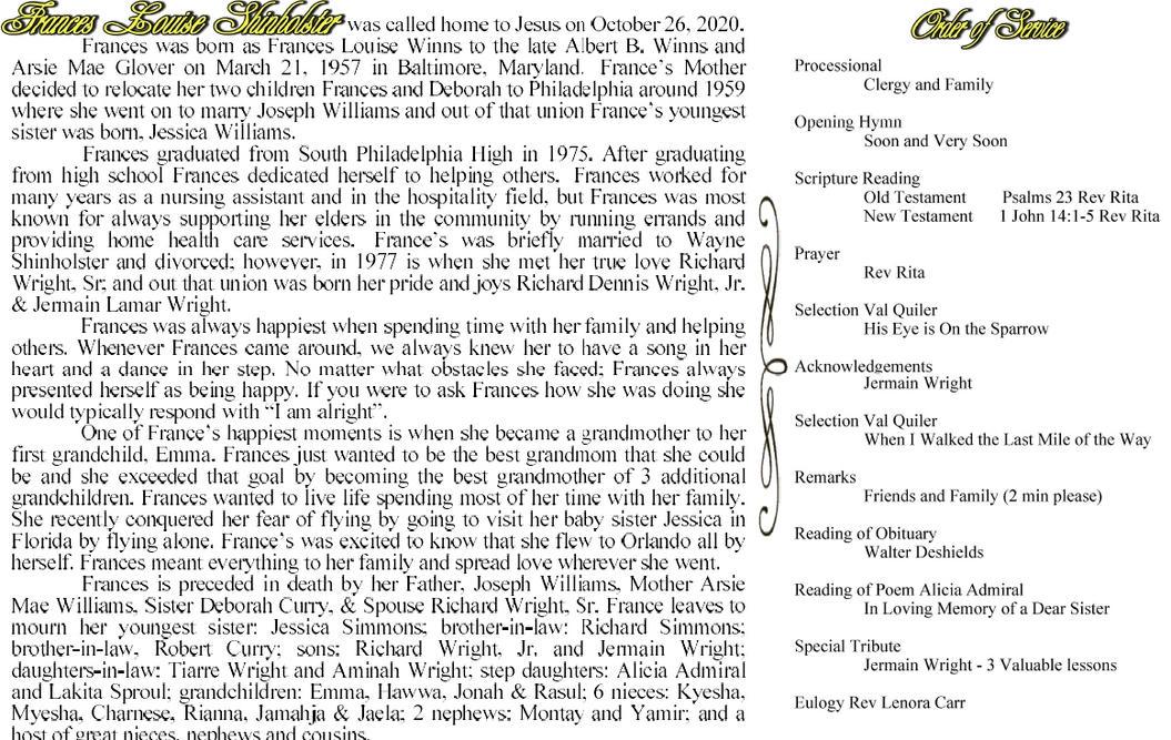 Obituary / Order of Service